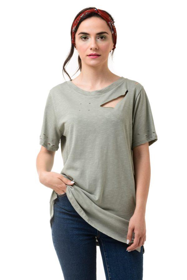 Χακί Μακό T-Shirt με Κοψίματα