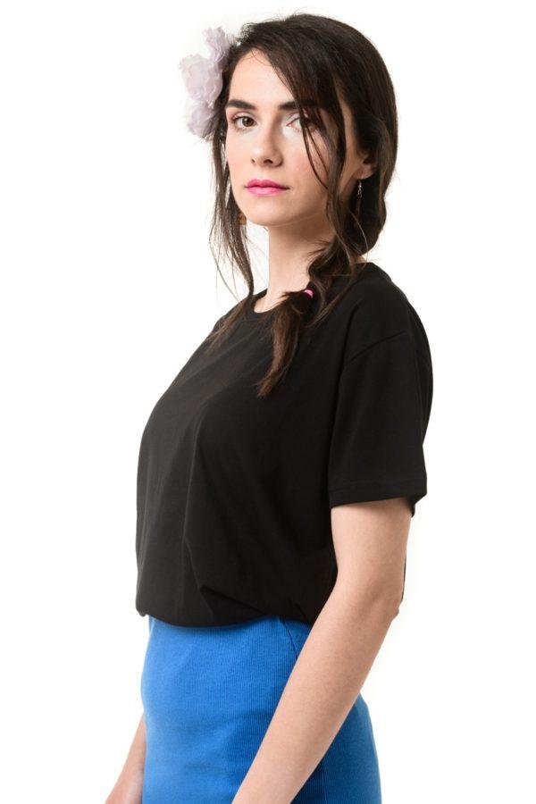 Μαύρο T-Shirt Κοντομάνικο