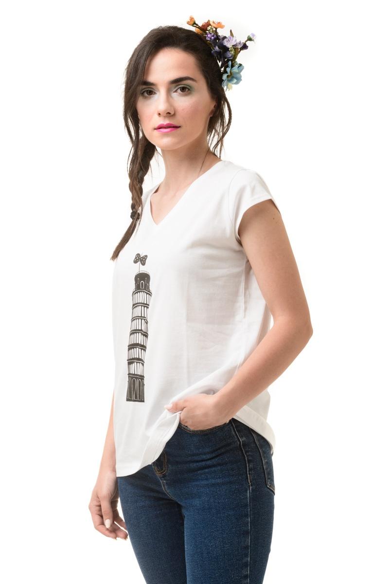 Άσπρο T-Shirt με V Λαιμόκοψη Pisa Tower