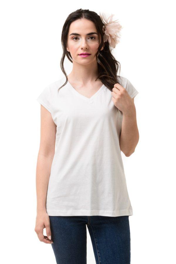 Άσπρο T-Shirt με V Λαιμόκοψη