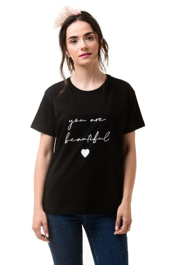 Μαύρο Κοντομάνικο Μπλουζάκι Beautiful
