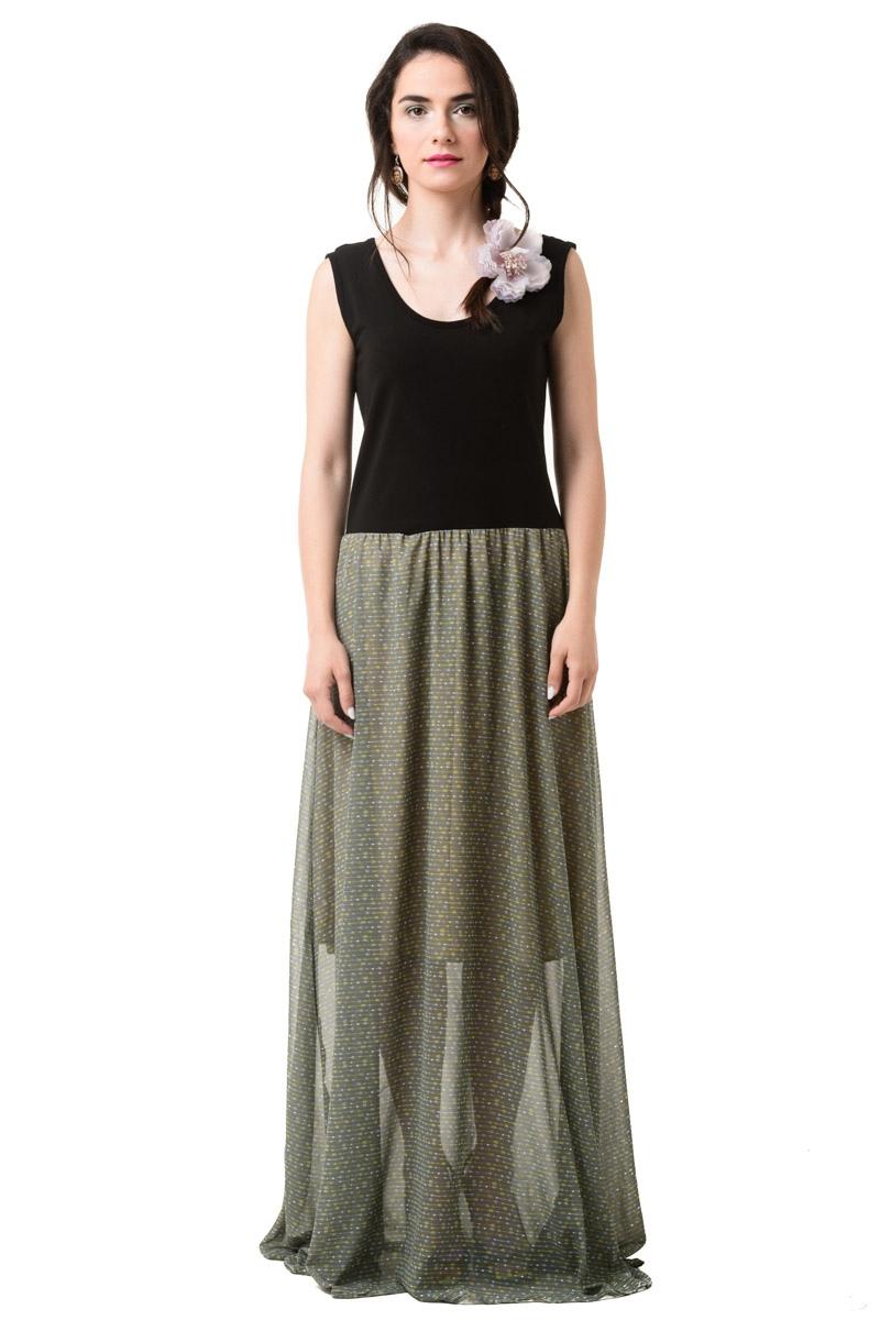 Lovender Φόρεμα Εξώπλατο με Ζορζέτα Χακί Βέλη