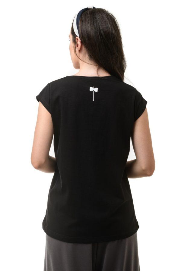 Μαύρο T-Shirt με V Λαιμόκοψη Petit