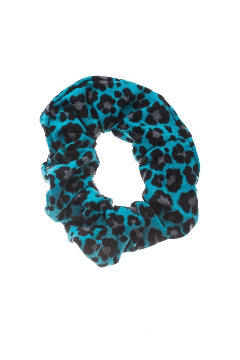 Λεοπάρ Σούρα Μαλλιών Μπλε Scrunchies