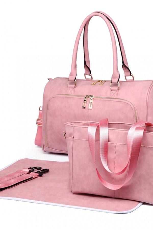Ροζ Τσάντα Αλλαξιέρα Leather Look 3 Pcs