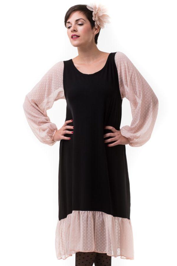 Μαύρο Μίντι Φόρεμα με Ζορζέτα Πουά Ροζ