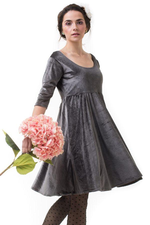 Γκρι Βελούδινο Φόρεμα Με Φιόγκο Πουά