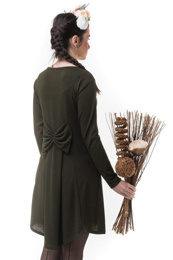 Χακί Κοντό Φόρεμα Πλεκτό με Φιόγκο & Ουρά