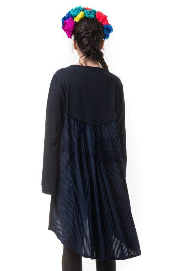 Μπλε Κοντό Φόρεμα με Ουρά Ριγέ Βελούδο