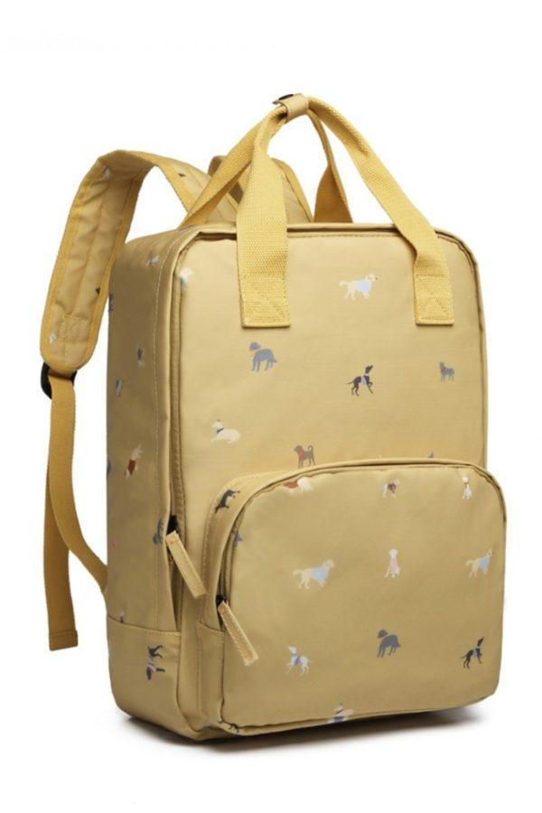 Κίτρινη Τσάντα Πλάτης Laptop Σκυλάκια
