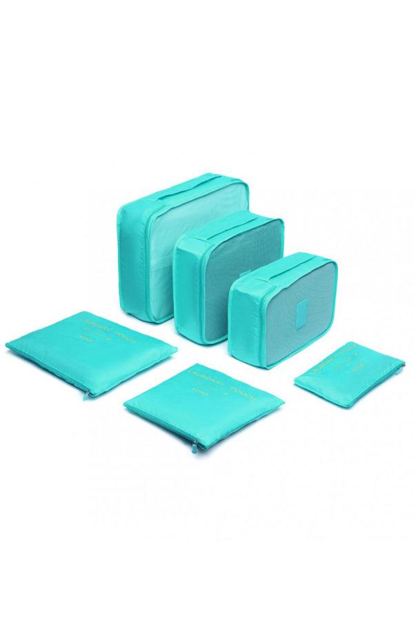 Γαλάζιες Τσάντες Οργάνωσης Ταξιδίου Σετ 6