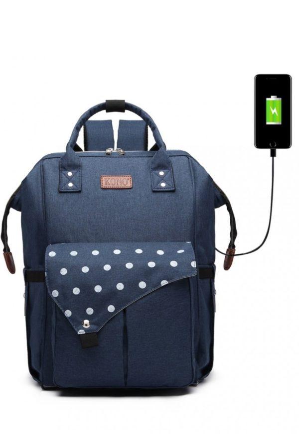 Μπλε Τσάντα Πλάτης Αλλαξιέρα με USB