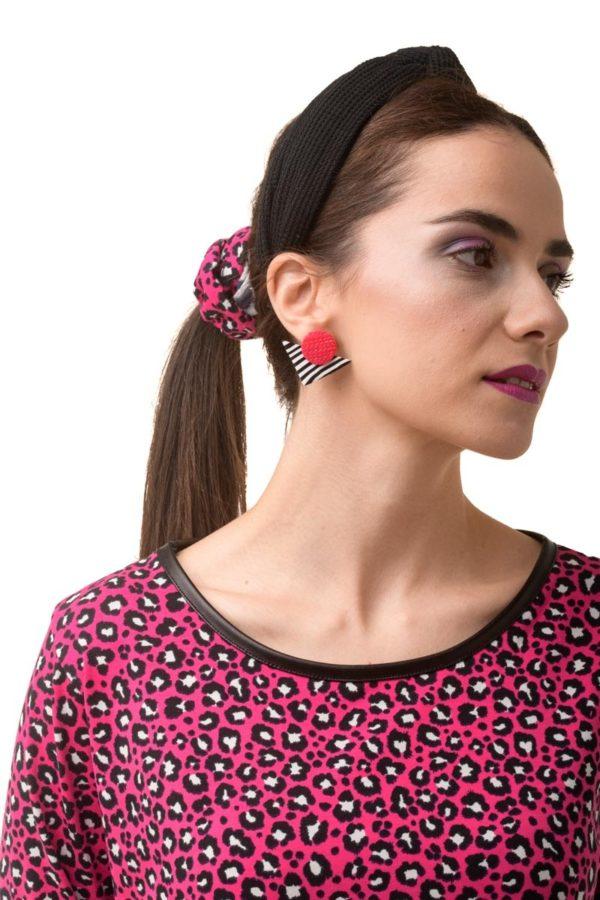 Λεοπάρ Σούρα Μαλλιών Φούξια Scrunchies