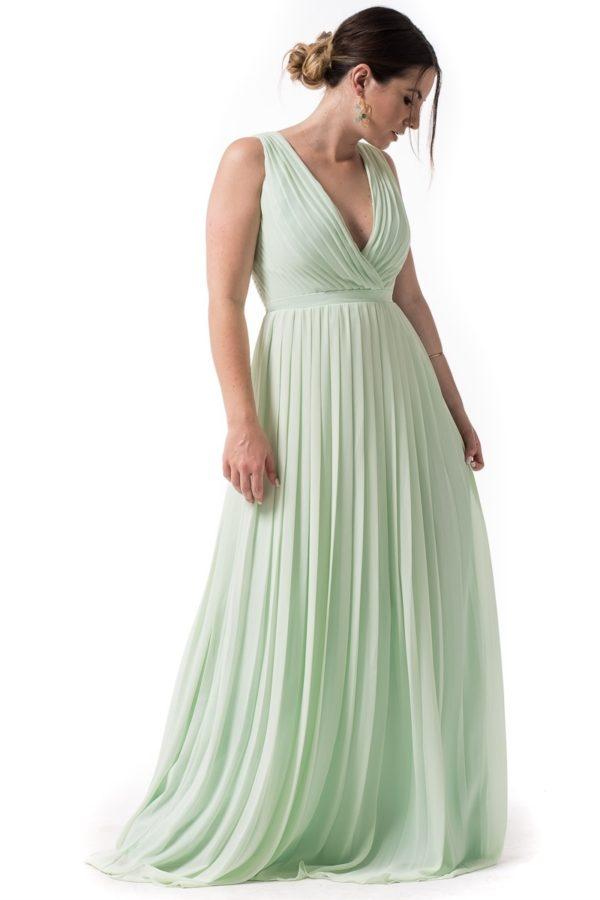 Maxi Φόρεμα Πλισέ Φυστικί