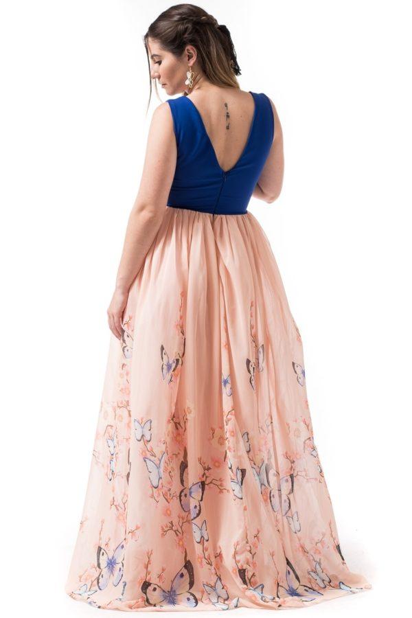 Maxi Φόρεμα Μπλε με Φουρό & Πεταλούδες