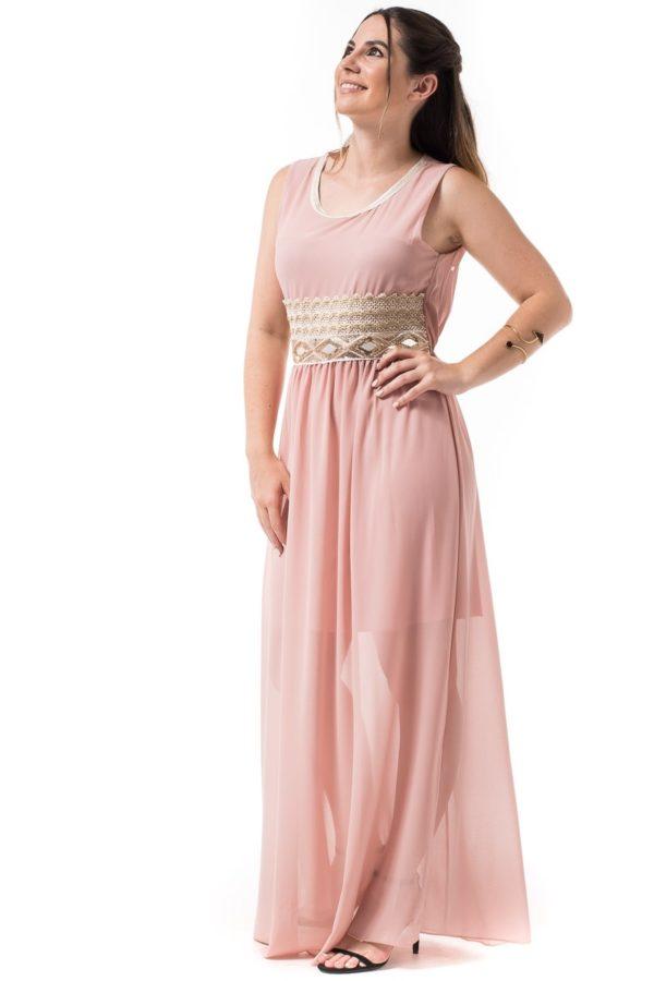 Ροζ Maxi Φόρεμα με Χρυσές Λεπτομέρειες