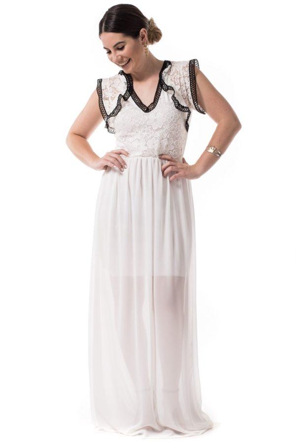 Λευκό Maxi Φόρεμα με Δαντέλα & Βολάν