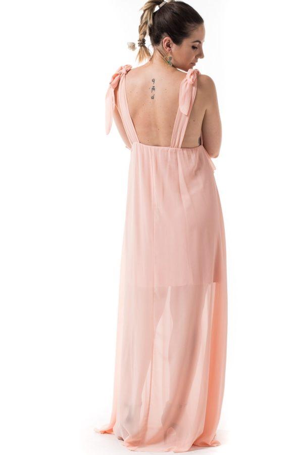 Σομόν Maxi Φόρεμα Κρουαζέ με Βολάν