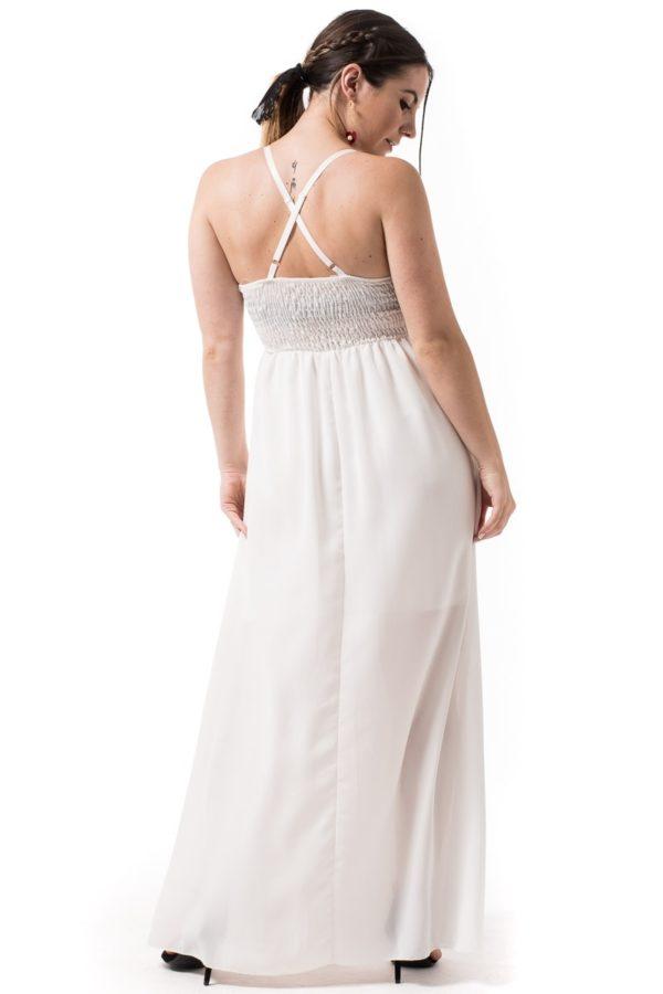 Άσπρο Μακρύ Φόρεμα με Κεντημένη Ζώνη