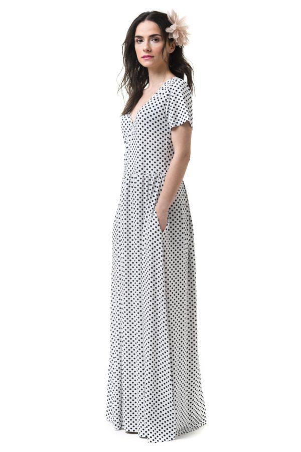 Φόρεμα Μακρύ Κρουαζέ Πουά Ασπρόμαυρο