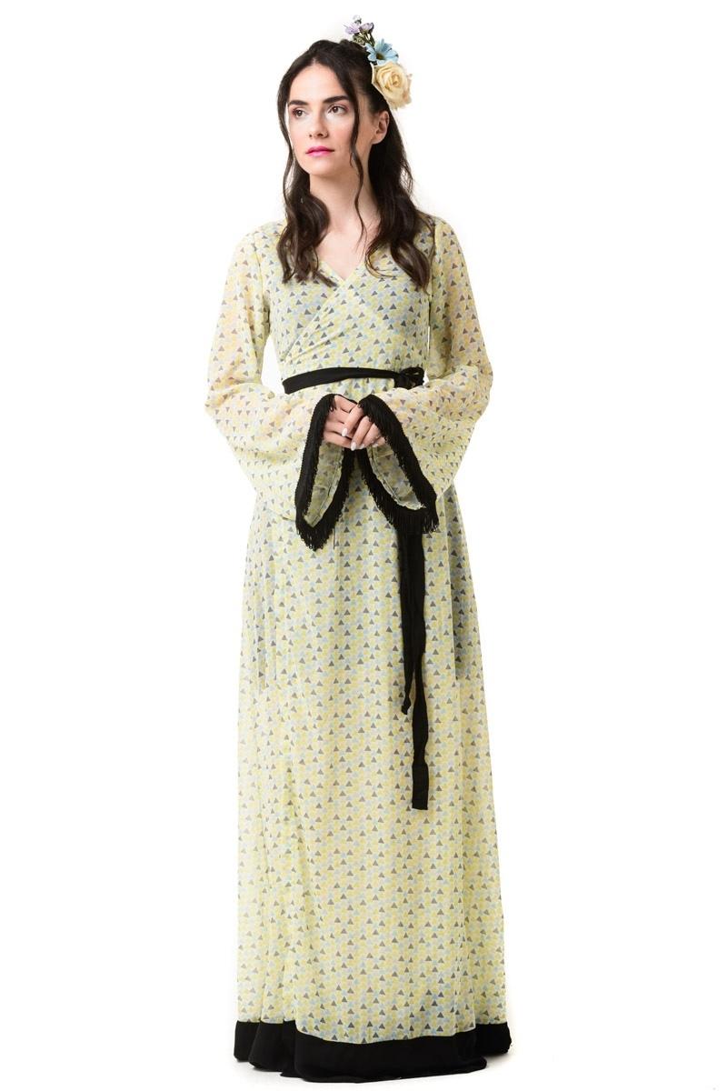 Δετό Κρουαζέ Φόρεμα Maxi Μανίκι Καμπάνα Geometric