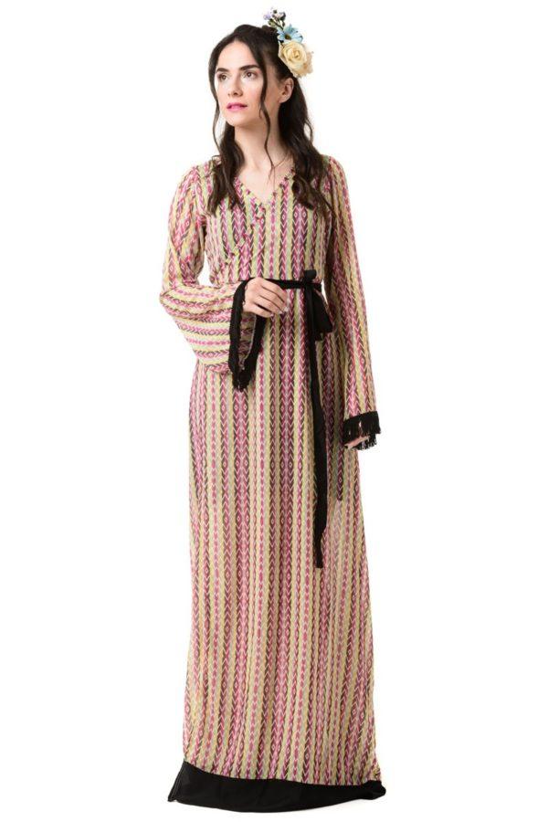 Κρουαζέ Φόρεμα Μακρύ Δετό Καμπάνα Μανίκι Ethnic