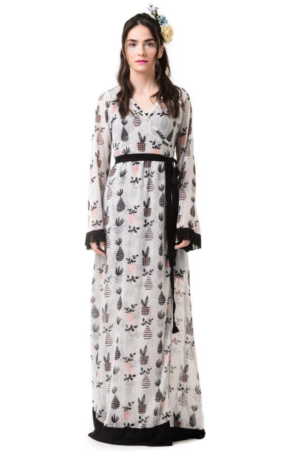 Φόρεμα Μακρύ Δετό Κρουαζέ Καμπάνα Μανίκι Garden