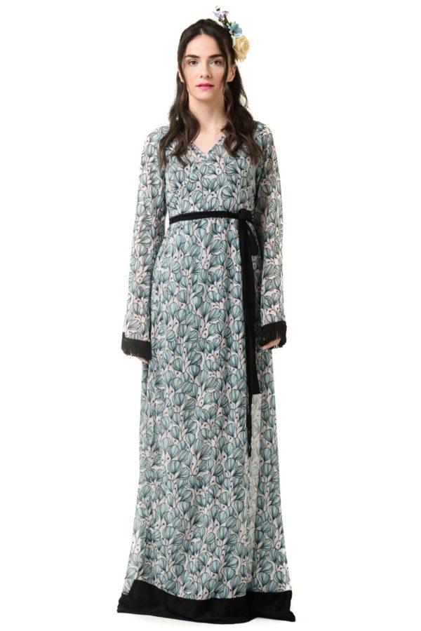 Maxi Φόρεμα Κρουαζέ Δετό Καμπάνα Μανίκι Lillies