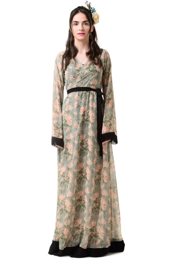 Μακρύ Φόρεμα Δετό Κρουαζέ Μανίκι Καμπάνα Floral