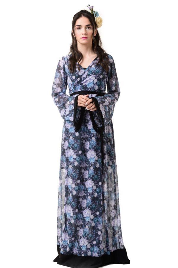 Φόρεμα Μακρύ Δετό Κρουαζέ Καμπάνα Μανίκι Μπλε Φλοράλ