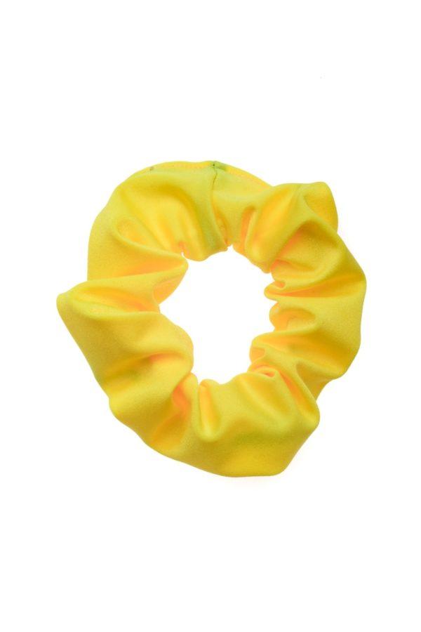 Κίτρινη Shiny Σούρα Μαλλιών Λύκρα Scrunchie