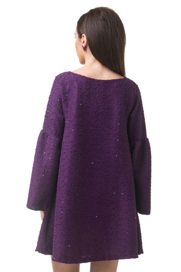 Lovender Μοβ Φόρεμα Α γραμμή Μπουκλέ