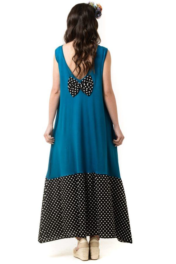 Φόρεμα Με Φιόγκο Στην Πλάτη Πετρόλ Με Πουά Βολάν