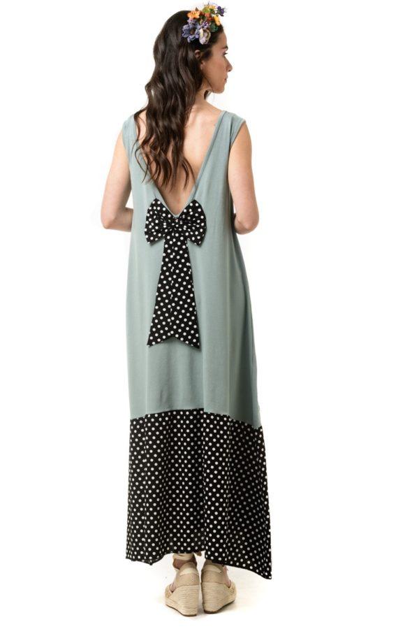 Μίντι Πράσινο Φόρεμα με Φιόγκο & Φάσα
