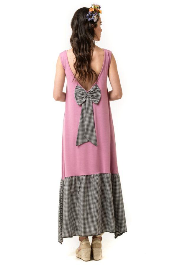Ροζ Μίντι Φόρεμα με Φιόγκο & Φάσα Καρό