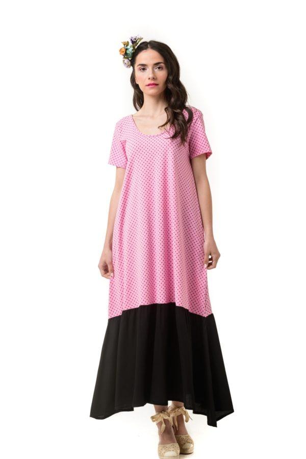Φόρεμα με Φιόγκο στην Πλάτη Ροζ Πουά