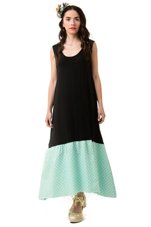 Φόρεμα με Φιόγκο στην Πλάτη Μαύρο Πουά Mint