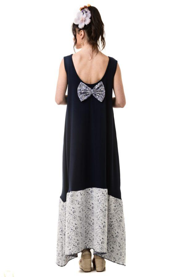 Μπλε Φόρεμα με Δαντέλα Φιόγκο και Φάσα