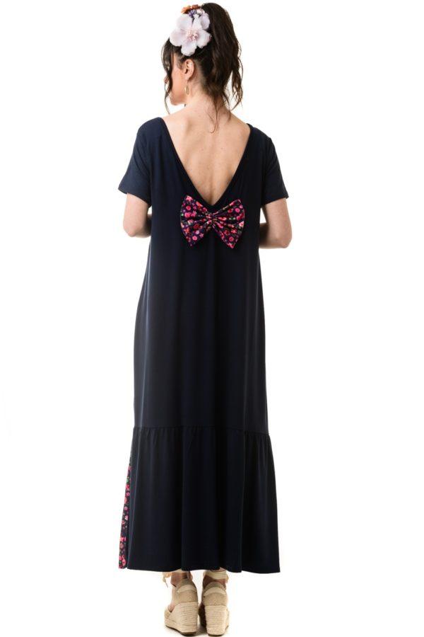 Μπλε Φλοράλ Φόρεμα με Φιόγκο στην Πλάτη