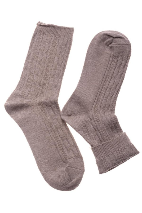 Μπεζ Πλεκτές Γυναικείες Κάλτσες με Πλεξούδες