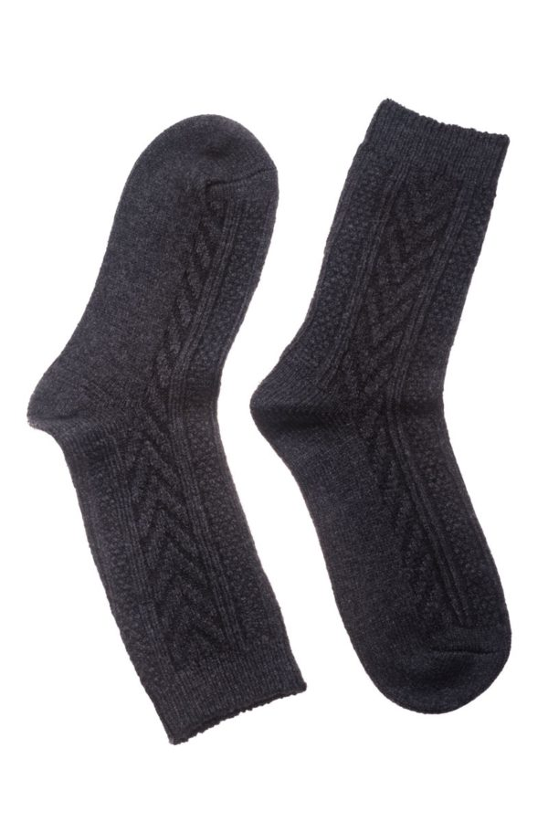 Γκρι Σκούρο Πλεκτές Γυναικείες Κάλτσες με Πλεξούδες