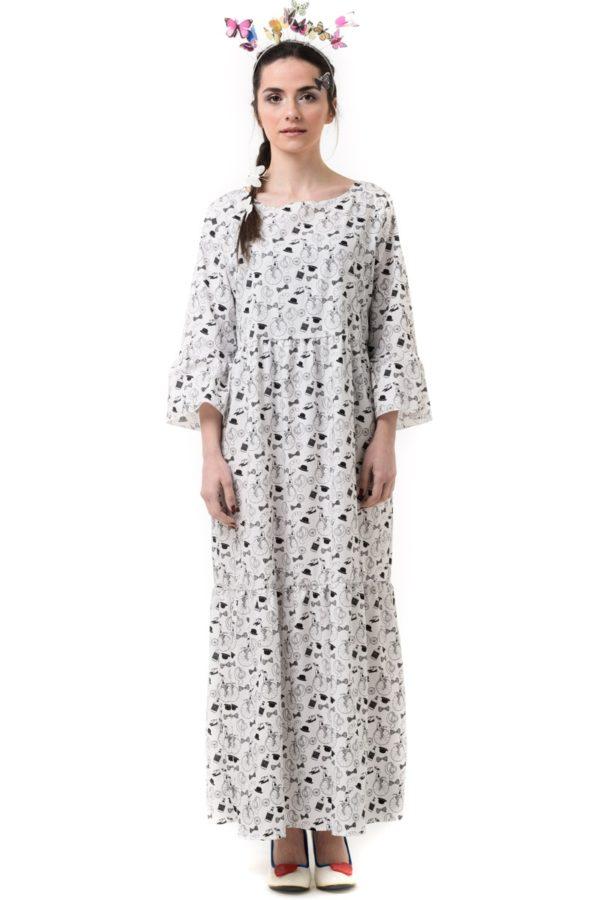 Ασπρόμαυρο Φόρεμα Μακρύ με Print