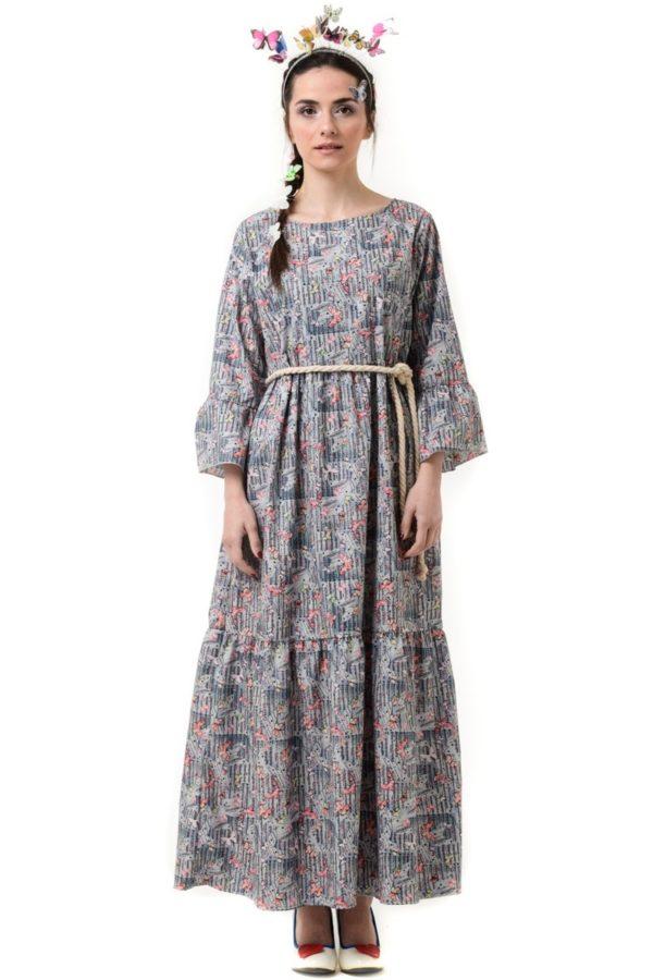 Γκρι Μακρύ Φόρεμα με Βολάν & Πεταλούδες
