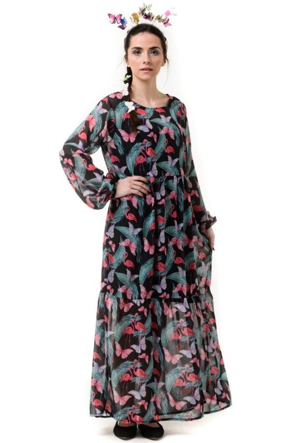 Μαύρο Φόρεμα Μακρύ με Φλαμίνγκο & Πεταλούδες