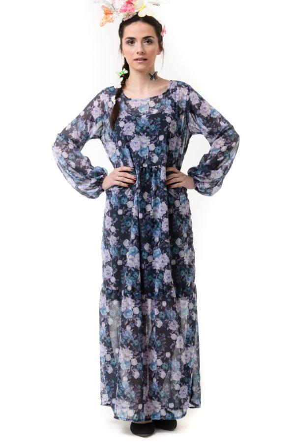 Maxi Φλοράλ Φόρεμα Μπλε