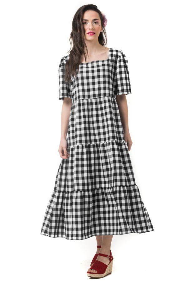 Ασπρόμαυρο Φόρεμα Καρό με Βολάν