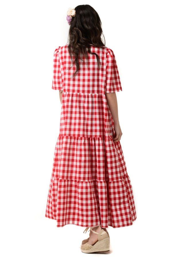 Κόκκινο Φόρεμα Καρό με Βολάν