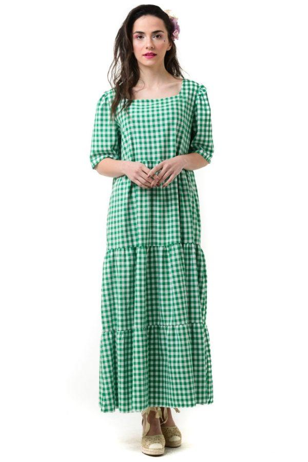 Πράσινο Φόρεμα Καρό με Βολάν