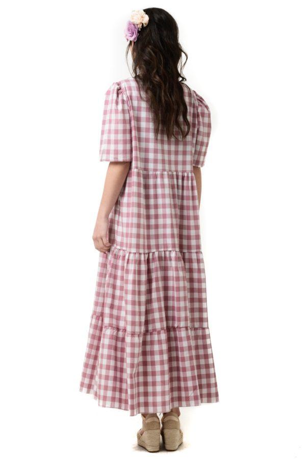 Ροζ Φόρεμα Καρό με Βολάν