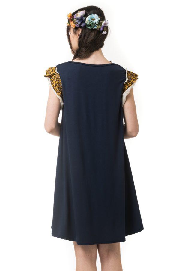 Μπλε Κοντό Φόρεμα Α γραμμή με Λεοπάρ Μανίκια